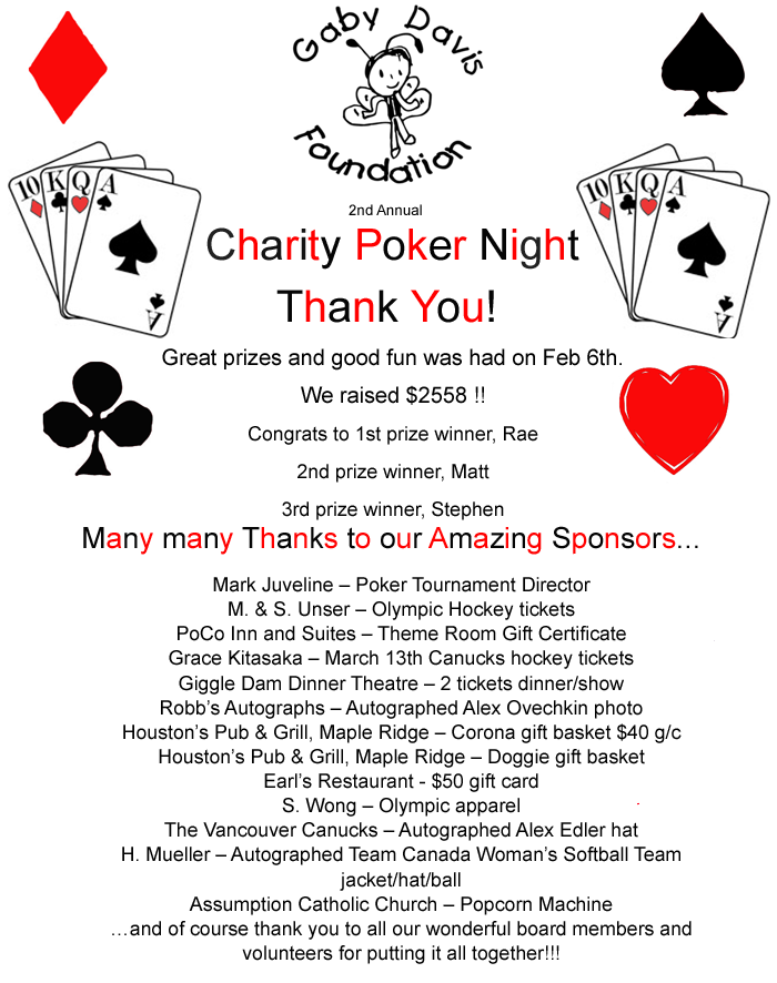 Second Annual Charity Poker Night to help families affected by childhood cancer